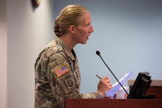 Army Corps of Engineers Deputy Commander for South Florida, Lt. Col. Jennifer Reynolds, presented updates on the Everglades restoration projects to the Martin County Board of County Commissioners on Tuesday, June 4, 2019, at the Martin County Administrative Center. Reynolds said the EAA reservoir can be built in eight years thanks to $200 million funding in President Donald Trump's proposed budget.