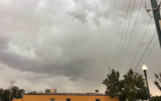 Storm clouds move into Downtown El Paso.