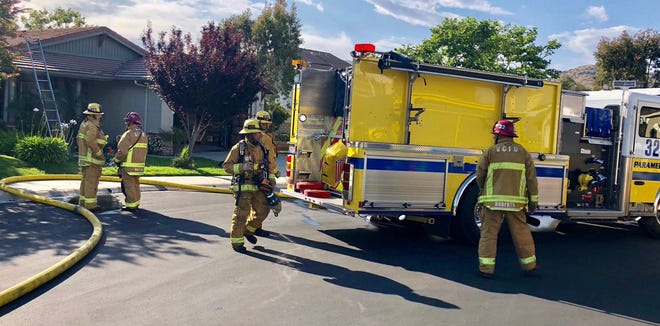 Ventura County firefighters put out a house fire in Newbury Park Monday  afternoon.