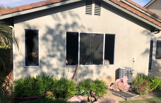 A fire in the rear of a Newbury Park home Monday displaced several residents.