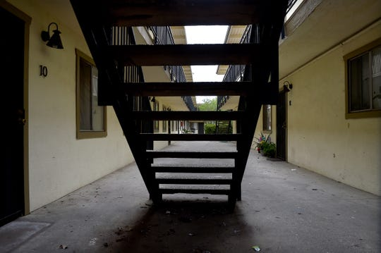Stairs lead up to the second floor of an apartment building in Oxnard on Tuesday. A high-profile bill passed recently by the California Assembly would impose rent control limits on annual increases for the vast majority of renters. If approved by the state Senate and signed by Gov. Gavin Newsom, it would make California the second state to provide such protections.