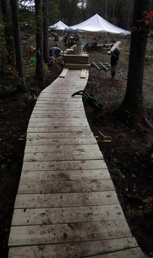 In 2012, workers, mostly volunteers, built several long boardwalks in the Plover River Section of the Ice Age Trail, making it a lot more accessible for hikers.