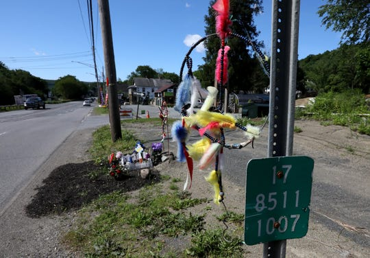 A roadside memorial for Richard Mackey, who was killed on Rt. 17 in Sloatsburg. Richard and his brother, Raymond, were hit while crossing the road on a riding lawnmower.