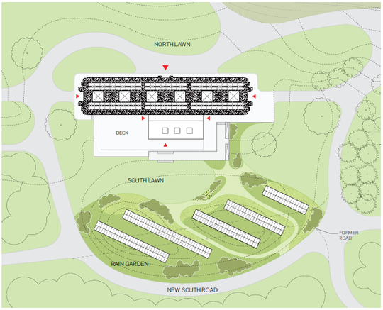 A map of the proposed grounds that would surround the new David Rockefeller Creative Arts Center.