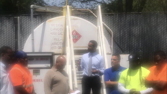 Mount Vernon Mayor Richard Thomas with Department of Public Works employees awaiting fuel delivery at the DPW yard