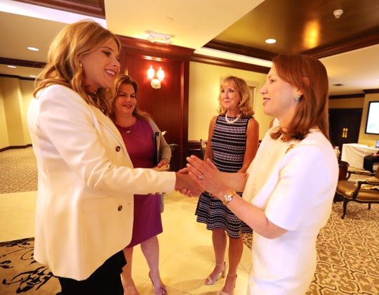 Jenna Bush Hager, co-host of NBC's TODAY, greets Susan Fox, President and CEO of White Plains Hospital at Willow Ridge Country Club in Harrison June 4, 2019. Bush-Hager was the keynote speaker at the hospital's spring luncheon.