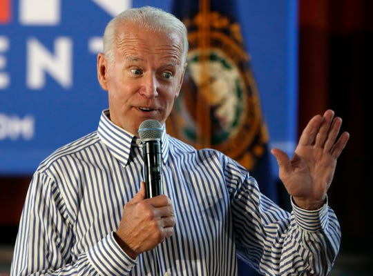 Former vice president and Democratic presidential candidate Joe Biden speaks during a campaign event, Tuesday, June 4, 2019, in Berlin, N.H.