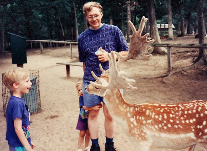 """""""Oh, deer."""" Caitlin and Nathaniel Shuda with their father, Patrick Shuda"""