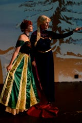 """""""Disney Frozen Jr."""" opens at 7 p.m. tonight and 1 p.m. & 5 p.m. Saturday at the Wichita Theatre. The musical continues from June 14 to 16, and June 21 & 22. There will also be a special Crystal Palace After Party at the Stage 2 Dinner Theatre running after each performance - excluding June 21. Elsa (Annie Scales) Anna (Emily Gill)"""