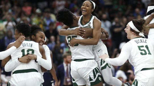 Baylor players celebrate after defeating Notre Dame in the Final Four championship game in April.