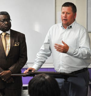 Wichita Falls area YMCA President/CEO Robert Brandon Brown, right, was terminated from the organization Tuesday by its board of directors after they learned of a 2017 felony conviction Brown has in Oklahoma for possession of methamphetamine.