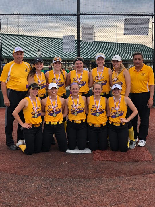 The Road Runner Elite 18U travel softball team started the 2019 season by going undefeated in claiming the championship of the Capital City Showdown. Pictured are: Front Row (left to right): Madison Johnson (John Glenn), Abby Bumbico (Martins Ferry); Taylor Gallentine (St. Clairsville-Muskingum), Riley Conkle (Coshocton-West Liberty), Claire Warschauer (River View-Muskingum). Back Row: Coach Rick Sherman, Kieran Johnson (Wheeling Park), Janessa Dawson (Tri-Valley-Grove City), Kearstin Dumolt (Tri-Valley-Muskingum), Maiah Bell (Philo); Jenna Jaskowiak (St. Clairsville), Coach Jim DiCarlo. Missing is Megan Kelley (Indian Creek-Lourdes).