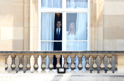 Jared Kushner and Ivanka Trump look out of the window at Buckingham Palace during the visit of US President Donald Trump and First Lady Melania Trump on June 3.
