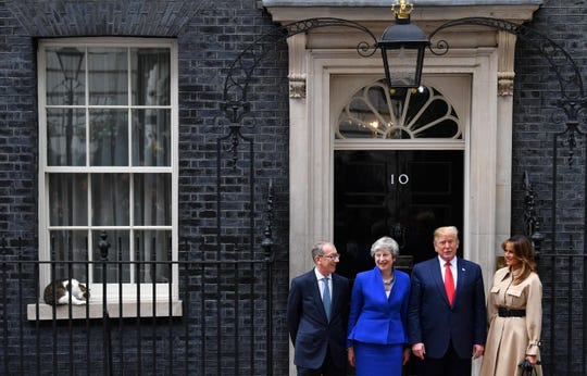 Larry the 10 Downing Street cat rest on the window sill as Britain's Prime Minister Theresa May and her husband Philip May greet President Donald Trump and First Lady Melania Trump.