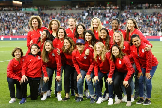 Members of the 1999 U.S. women's team were recognized for their historic World Cup victory during a game in April.