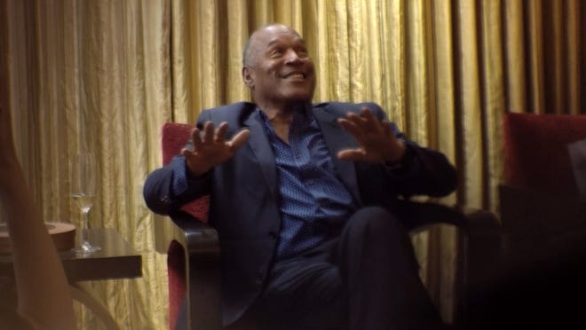 """O.J. is show during his interview on """"Who Is America?"""""""