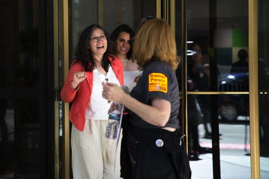 Immigration activist Maru Mora Villalpando exits Seattle Immigration Court after her third deportation hearing on April 30, 2019 in Seattle, Washington. Mora Villalpando, an undocumented immigrant, has argued that she is being targeted for deportation due to her activism.