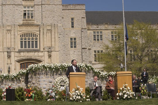 Then-Virginia Gov. Tim Kaine at Virginia Tech University in Blacksburg in 2008.