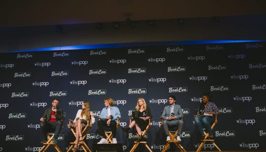 """From left, author John Green, actors Kristine Froseth and Charlie Plummer, producers Stephanie Savage, Josh Schwartz and moderator Akilah Hughes talk about the upcoming Hulu limited series adaptation of Green's 2005 novel """"Looking for Alaska."""""""
