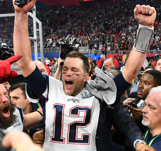 Tom Brady celebrates winning his sixth Super Bowl.