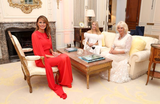 First lady Melania Trump with Camilla, Duchess of Cornwall, right, and Suzanne Ircha, wife of U.S. Ambassador Robert Wood Johnson before a dinner at Winfield House, the residence of the ambassador, where the Trumps are staying while on a three-day state visit to Britain.
