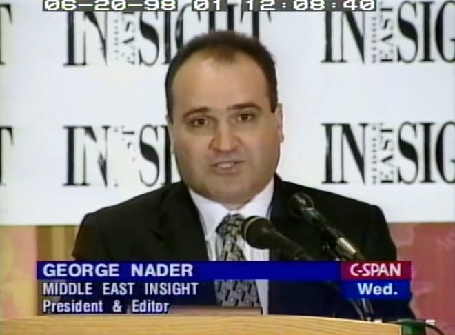 This 1998 frame from video provided by C-SPAN shows George Nader, president and editor of Middle East Insight. Nadar, who worked to advance Saudi Arabia's agenda to the Trump administration and who later provided grand jury testimony to special counsel Robert Mueller, has been arrested on charges of transporting a dozen images of child pornography and bestiality.