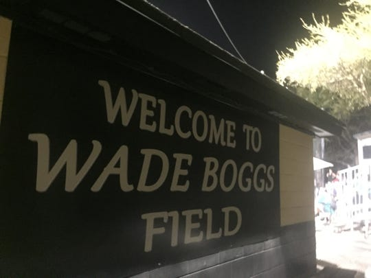 A sign welcomes visitors to Wade Boggs Field at Plant High School in Tampa.