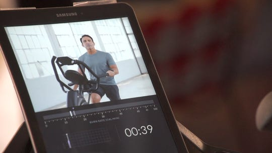 Samsung tablet on Bowflex Max Trainer