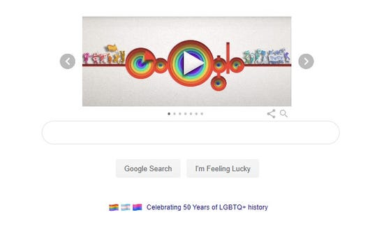 Screenshot of pride Google doodle
