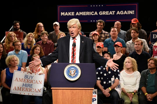 "Alec Baldwin's President Donald Trump, seen here in a 2017 sketch, sent ratings soaring for NBC's ""Saturday Night Live."""