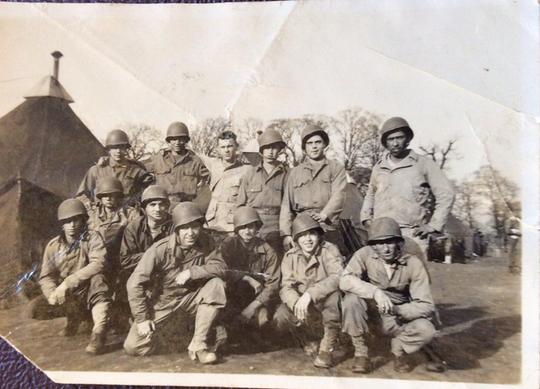 Author Nicholas Burns' uncle Bob Mills of Auburn, Massachusetts, farthest left, parachuted into Normandy on D-Day.