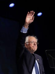 Democratic presidential candidate Sen. Bernie Sanders, I-Vt., waves after speaking during the 2019 California Democratic Party State Organizing Convention in San Francisco, Sunday, June 2, 2019.