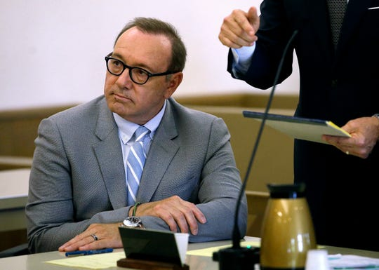 Kevin Spacey at a pretrial hearing on June 3, 2019, at district court in Nantucket, Mass. The Oscar-winning actor is accused of groping a teen in 2016.