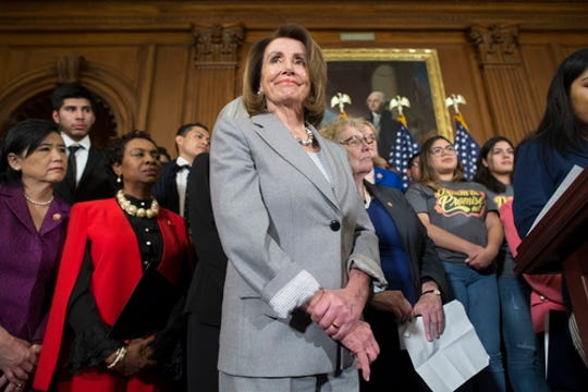 Speaker of the House Nancy Pelosi attends an event introducing the American Dream and Promise Act of 2019 in Washington, D.C., on March 12, 2019. The legislation creates a pathway to citizenship for Deferred Action for Childhood Arrival (DACA) beneficiaries and immigrants with Temporary Protected Status (TPS) and Deferred Enforced Departure (DED).