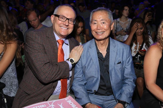 Brad Takei, left, and George Takei attend the KYBOE! fashion show during New York Fashion Week: The Shows at The Arc, Skylight at Moynihan Station on September 10, 2016 in New York City.
