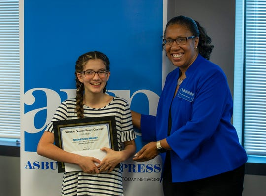 Mya Burgos of Memorial Middle School won 7-8 Grade Essay Grand Prize. Student Voices Awards reception at the Asbury Park Press in Neptune, NJ on June 4, 2019 where students at different grade levels received  awards for outstanding essays and video entries.