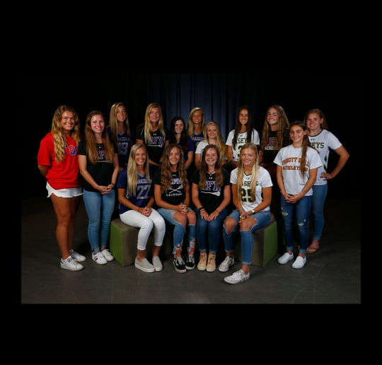 Girls Lacrosse first team   (Standing L-R): Morgan Bartlett. Ocean; Jordan Johnson, Rumson-Fair Haven; Jenna Harms, Manasquan; Grace Jamin, Rumson-Fair Haven; Kate Montalto, Manasquan; Paige Harms, Manasquan; Lindsay Mazzucco, Red Bank Catholic; Grace Gargiulo, Red Bank Catholic; Meghan Murray, Red Bank; Haven Dora, Trinity Hall; Reilly Traynor, Red Bank Catholic  (Seated L-R): Janie Cowley, Manasquan; Chase Boyle, Rumson-Fair Haven; Cassie James, Rumson-Fair Haven; Mackenzie Boyle, Red Bank Catholic  Not shown: Colleen Kelly, Trinity Hall