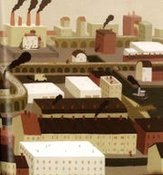 "A brown downtown without flowers and trees in Peter Brown's ""A Curious Garden."""
