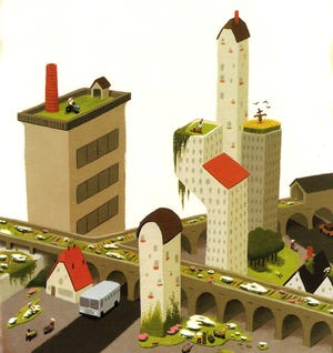"A brown city becomes green in Peter Browns ""A Curious Garden."""