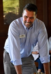 New Abilene Zoo Director Jesse Pottebaum speaks with guests at the zoo Tuesday. Pottebaum comes to the Big Country from the Austin Zoo, where he served as deputy director.