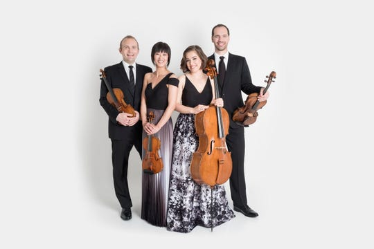"Jasper String Quartet — Susie Park, violin; Katherine Winterstein, violin;  Melissa Reardon, viola; Steve Honigberg, cello — play on the final weekend of the season in the ""All Those Strings"" program."