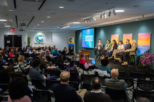 The We Are Still In panel at the 2018 Climate Con in speaks at The Collider in Asheville.