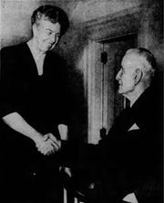 Eleanor Roosevelt is greeted by Thomas J. Watson Sr. in Endicott in 1954.