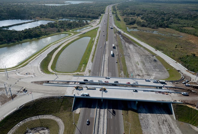 This February aerial photo shows construction of the Interstate 95 interchange at the future St. Johns Heritage Parkway in Palm Bay.