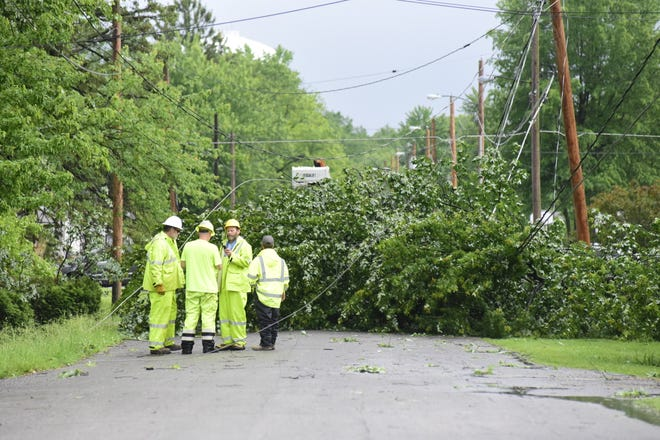 Workers discuss their plan for clearing a tree that fell across Second Avenue in Galion late Wednesday afternoon, taking down a power line that supplied residents on the east side of the city.