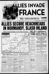 The News Journal's front page from June 6, 1944.