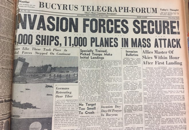 An archived copy of the Bucyrus Telegraph-Forum front page from June 6, 1944.