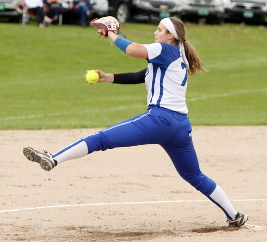 MVU's Sarah Harvey fires a pitch in the first inning of the T-Birds' 5-1 win over Lyndon in the Division I softball semifinals in Swanton on Tuesday, June 4, 2019.