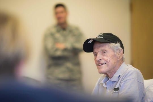 Lyndol Palin, a World War II veteran, visits the 158th Fighter Wing, a Vermont Air National Guard unit. Photo taken June 3, 2018. Staff Sgt. Jonathon Alderman.