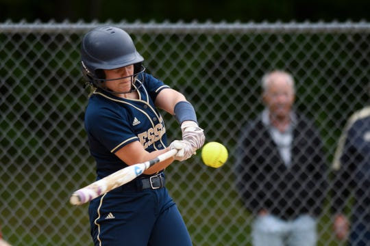 Essex's Jamie Morin (15) hits a home run during the Division I softball semifinal game between the BFA St. Albans Comets and the Essex Hornets at Essex High School on Tuesday. afternoon June 4, 2019.